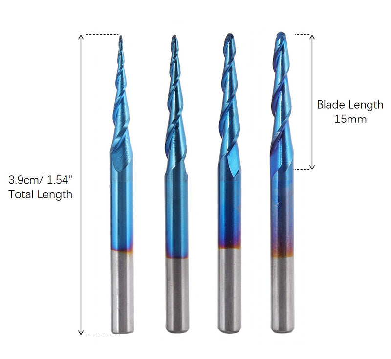 CNC Router Bits, Ball Nose 2-Flute, R0.25-R1.0, 4pcs-03