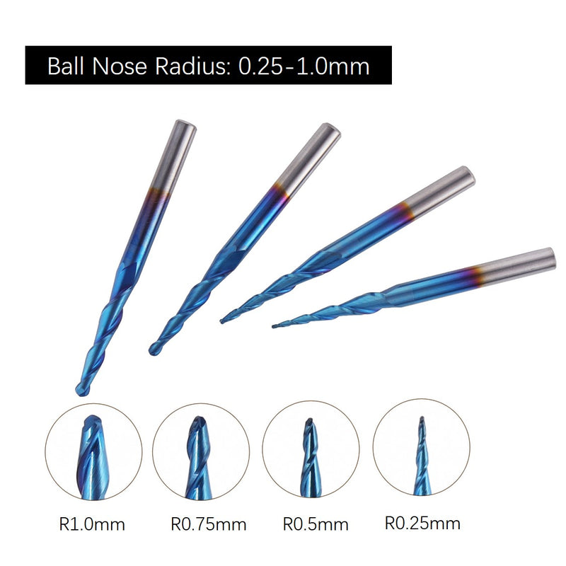 CNC Router Bits, Ball Nose 2-Flute, R0.25-R1.0, 4pcs-02