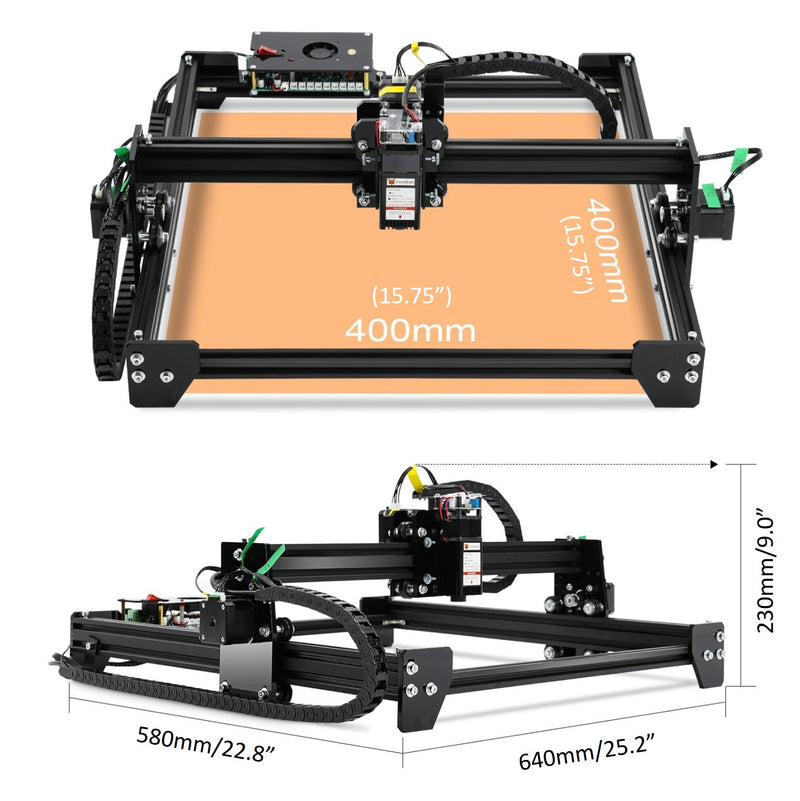 LE-4040 PRO 20W Laser Engraver with Rotary Roller Bundle Kit