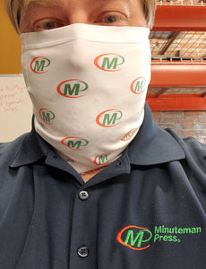 custom face and neck cover modelled with Minuteman Press logos