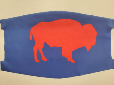 red buffalo on blue fashion face mask or face cover