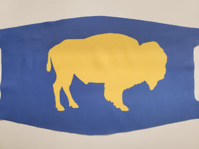 Yellow buffalo on blue fashion face cover / face mask