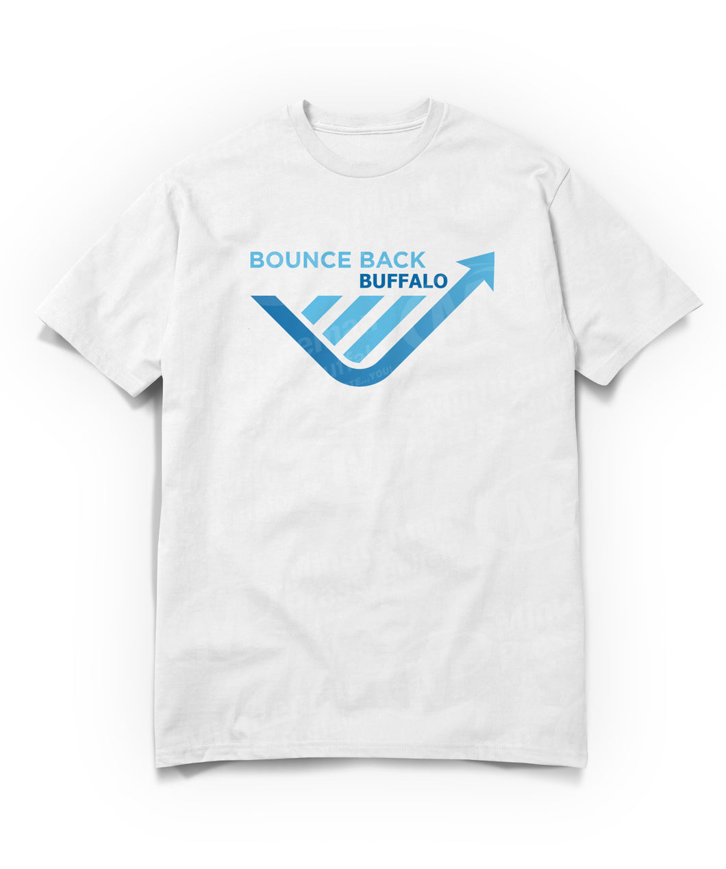 bounce back buffalo on white t-shirt