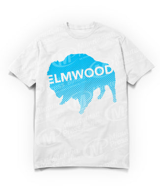 blue buffalo with white Elwood text on top on white t-shirt