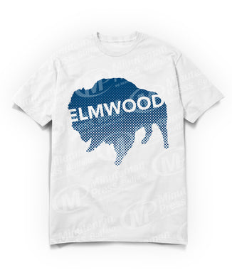 Navy blue Buffalo with white Elmwood text on white t-shirt