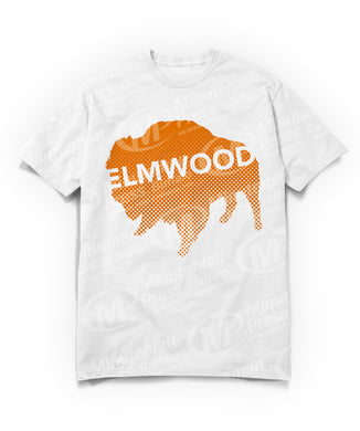 orange blue Buffalo with white Elmwood text on white t-shirt