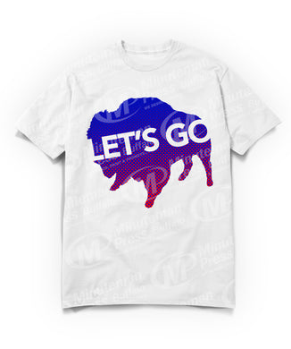 lets go text on blue gradient to pink buffalo on white t-shirt