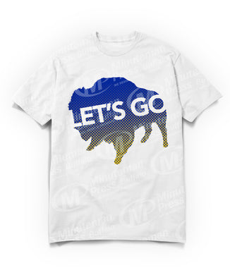 lets go text on blue gradient to yellow buffalo on white t-shirt