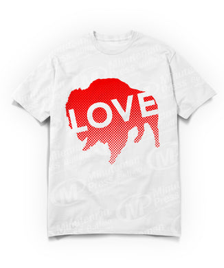 love text on red buffalo on white t-shirt