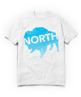 north text on blue buffalo on white t-shirt