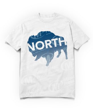 north text on navy blue buffalo on white t-shirt