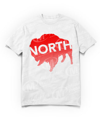 north text on red buffalo on white t-shirt
