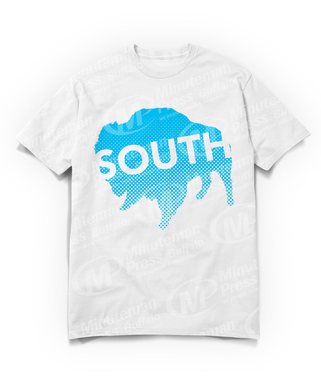 south text on blue buffalo on white t-shirt