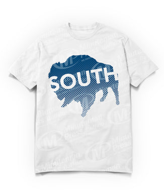 south text on navy blue buffalo on white t-shirt