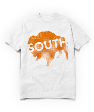 south text on orange buffalo on white t-shirt