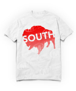 south text on red buffalo on white t-shirt