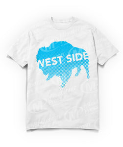 west side text on blue buffalo on white t-shirt