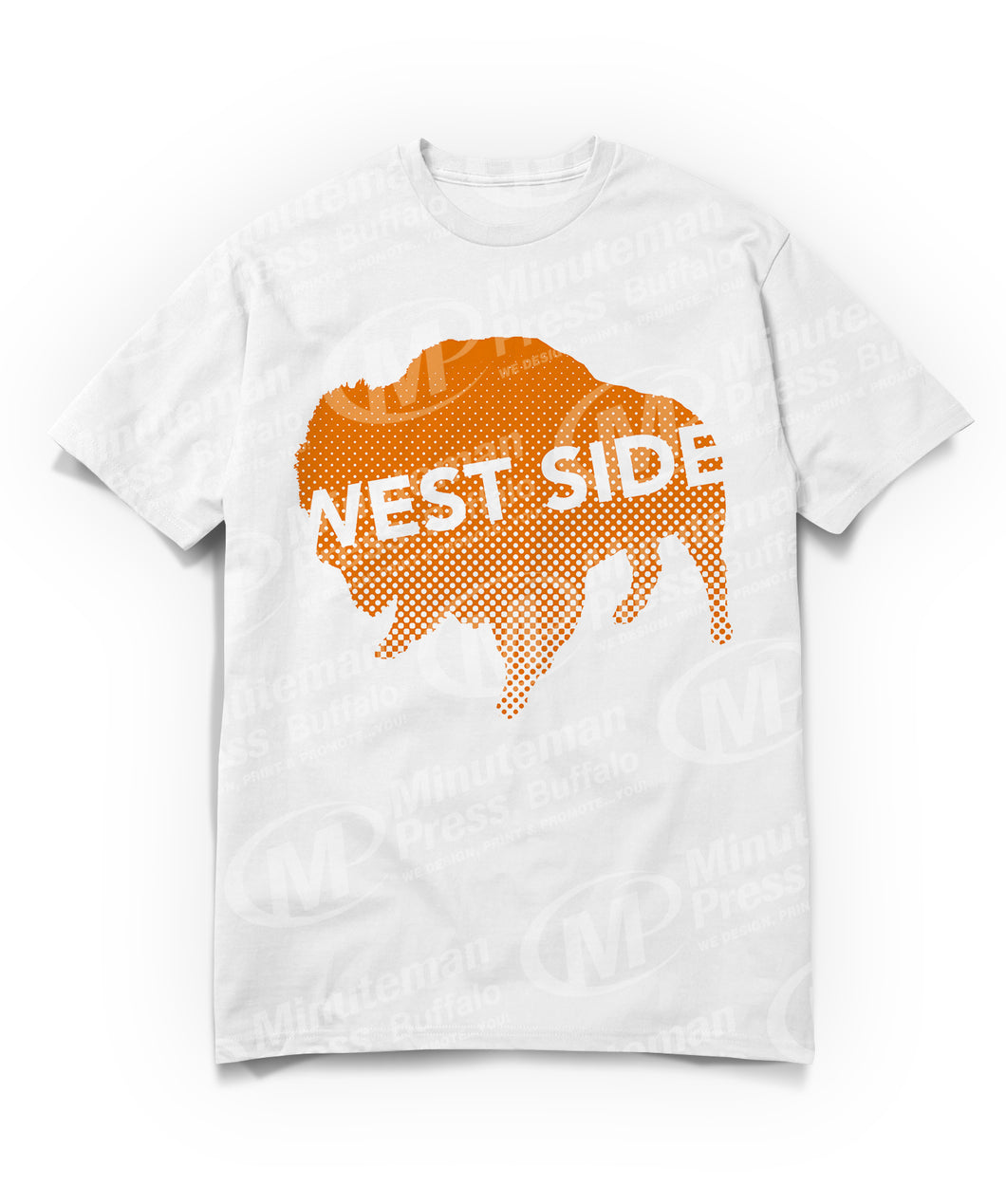 west side text on orange buffalo on white t-shirt