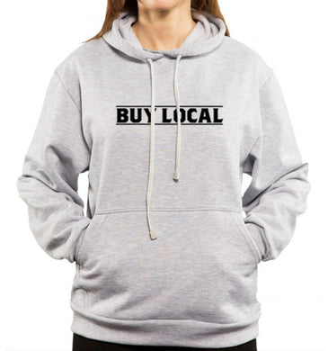 Buy local on gray hoodie