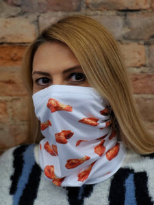 Woman modelling fashion face and neck cover