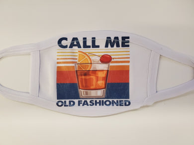 call me old fashioned face cover/mask with bourbon glass