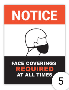 Notice Face Coverings Required at all Times