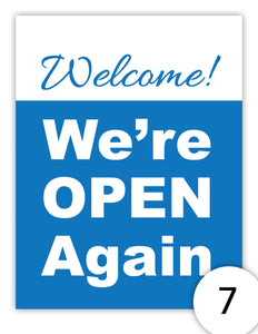 Welcome! We're Open Again