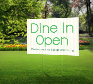 dine in open striped green