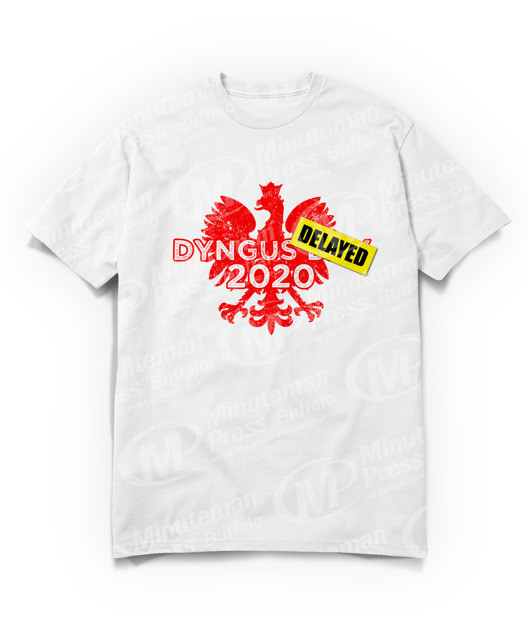 red dyngus delayed image on white t-shirt