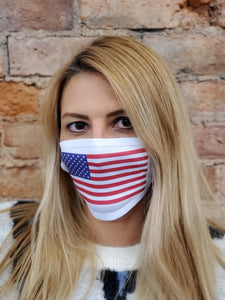 woman modelling american flag face cover