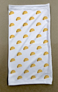 taco pattern on white neck and face cover