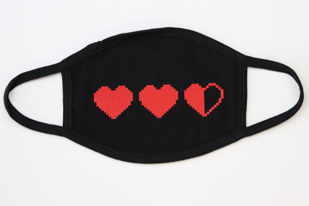 Red Hearts on Black Fashion Face Cover - 100% Cotton