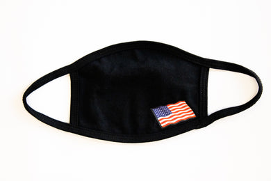 American Flag on bottom right corner of black cotton fashion face cover