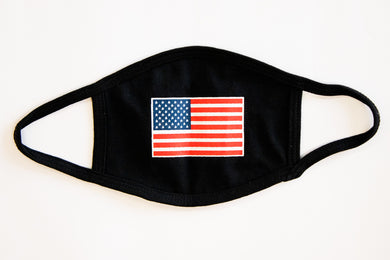 American flag on black cotton face cover