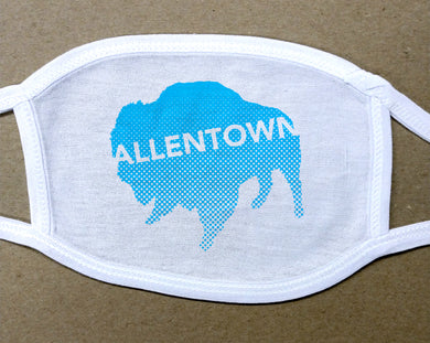 Allentown on sky blue Buffalo/Bison face mask face cover