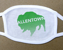Load image into Gallery viewer, Allentown on green Buffalo/Bison face mask face cover