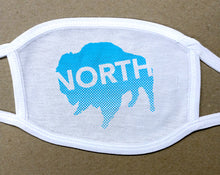 Load image into Gallery viewer, north buffalo text on buffalo on cotton face mask/cover