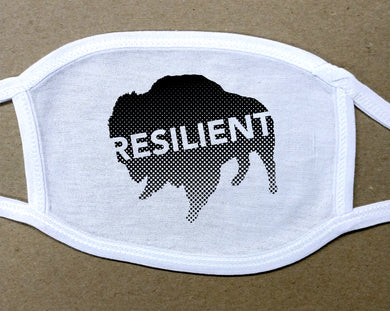 resilient text on black buffalo on white cotton face mask/cover