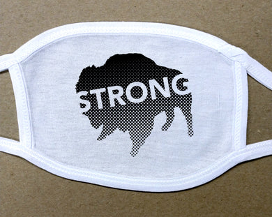 strong text on black buffalo on white cotton face cover