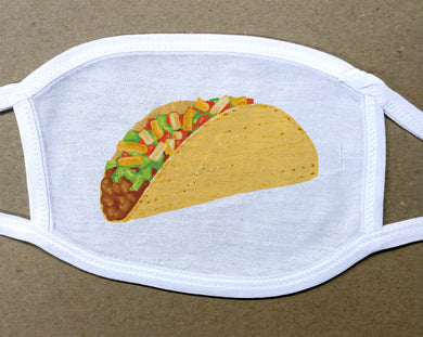taco clip art on white cotton face cover