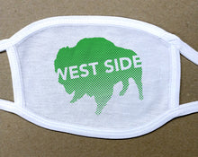 Load image into Gallery viewer, west side text on green buffalo on white cotton face cover