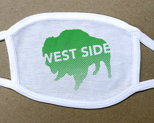 west side text on green buffalo on white cotton face cover