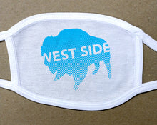 Load image into Gallery viewer, west side text on blue buffalo on white cotton face cover