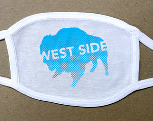 west side text on blue buffalo on white cotton face cover