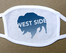 Load image into Gallery viewer, west side text on navy blue buffalo on white cotton face cover