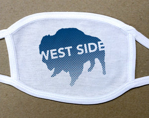 west side text on navy blue buffalo on white cotton face cover