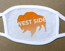 Load image into Gallery viewer, west side text on orange buffalo on white cotton face cover