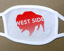 Load image into Gallery viewer, west side text on red buffalo on white cotton face cover