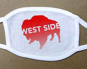 west side text on red buffalo on white cotton face cover