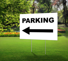 Load image into Gallery viewer, Lawn Sign- Parking with Arrow